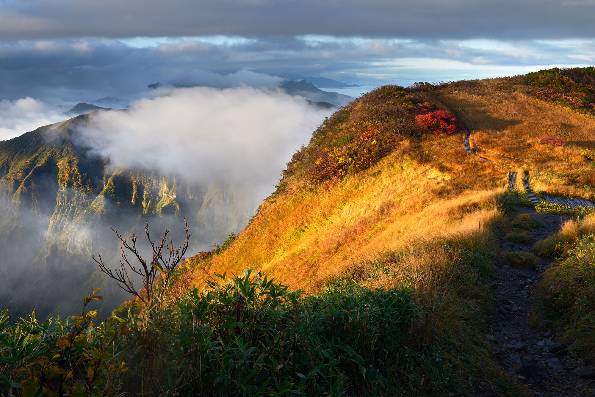 浅草岳山頂の紅葉